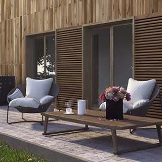 3D Visualisierung - Holzhaus Terrasse